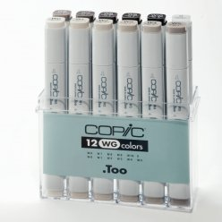 set copic marker  12 gris chauds