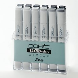 set copic marker  12 gris neutres