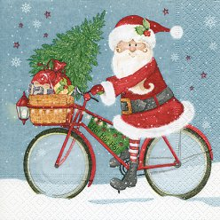 serviette santa on a bike 20 pieces