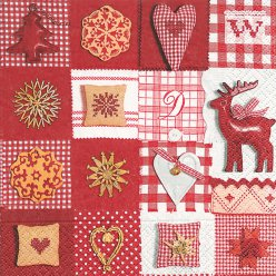 serviette patchwork red et white 20 pieces