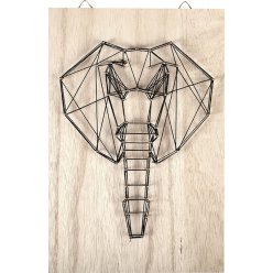 tableau de fil tendu string art elephant 20x30cm