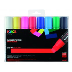 marqueur posca pc17 rectangulaire extra large basic 8 pieces