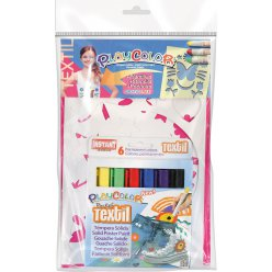 gouache pour textile playcolor 6 pcs pochoirs fille