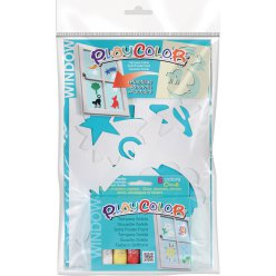 gouache solide playcolor 6 pcs pochoirs animaux