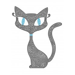 transfert thermocollant clou et strass chat 185x15 cm