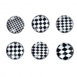magnets mini damier noir et blanc 18 cm x6 pieces