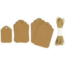 etiquette tags kraft arrondis avec cordelette 30 pieces