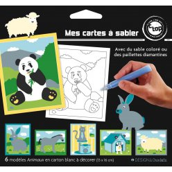 cartes sable ou pailleter 13 x 16 cm animaux x 6 pieces
