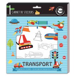 stickers a colorier 3 a 14 cm transports 8 feuilles