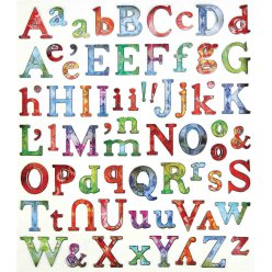 stickers alphabet de 07 a 2 cm multicolore x 71 pieces