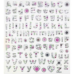 stickers alphabet fleuri de 07 a 1 cm x 109 pieces