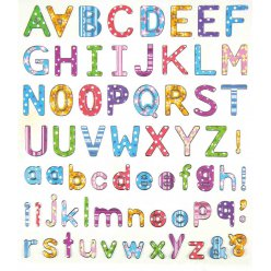 stickers alphabet pois et rayures de 05 a 2 cm x 67 pieces