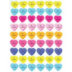 stickers coeur je t aime 2 cm multicolore x 54 pieces