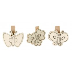 pinces en bois predessinees papillon fleur 6 pieces