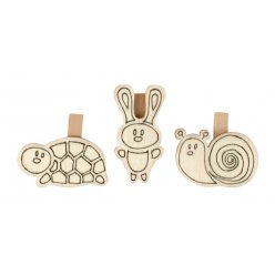 pinces en bois predessinees tortue lapin escargot 4 pieces