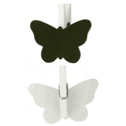 pinces ardoise papillon blanc 42 x 2 cm 6 pieces