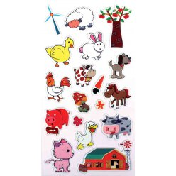 stickers mousse a la ferme 1 a 4 cm 18 pieces