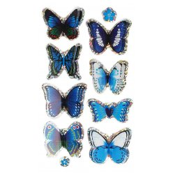 stickers 3d papillons bleu 3 a 5 cm 8 pieces