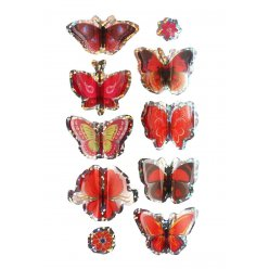 stickers 3d papillons rouge 3 a 5 cm 8 pieces