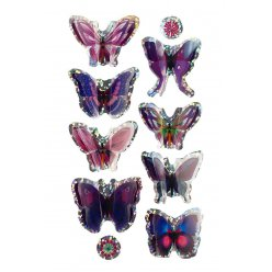 stickers 3d papillons violet 3 a 5 cm 8 pieces