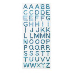 stickers strass alphabet bleu x 55 pieces