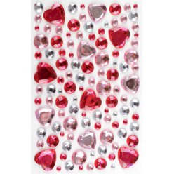 stickers strass coeur rose 05 a 2 cm 106 pieces