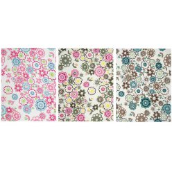 tissu adhesif coupons fleurs a 15x20 cm 3 pieces