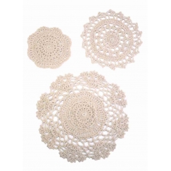 napperon en coton ecru 3 pieces