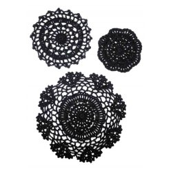 napperon en coton noir 3 pieces