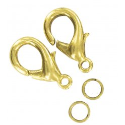 fermoir mousqueton 13 mm dore 10 pieces
