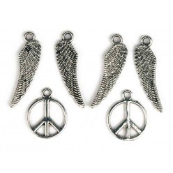 breloque en metal peace et ailes argente 7 a 27 mm 6 pieces