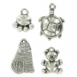 charms breloque en metal animaux argente 20 mm 4 pieces