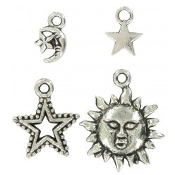 charms breloque en metal astral argente 15 mm 4 pieces