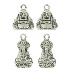 charms breloque en metal chance boudha argente 20 mm x4