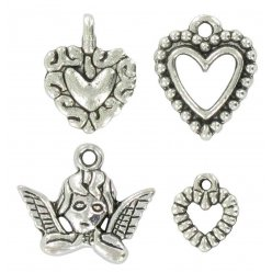 charms breloque en metal coeurs anges argente 4 pieces
