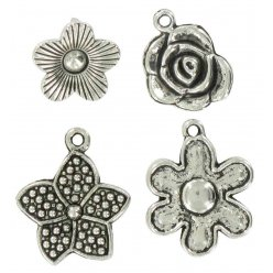 charms breloque en metal fleurs argente 20 mm 4 pieces