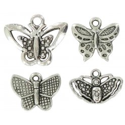 charms breloque en metal papillons argente 20 mm 4 pieces