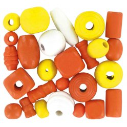perles en bois 05 a 2 cm assortiment orange 110 pieces