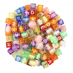 perles lettres carrees transparentes 07 cm 171 pieces