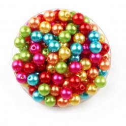 perles nacrees rondes multicolores 08 cm 130 pieces