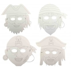 masques pirates carton blanc 25 x 28 cm x 4 pieces