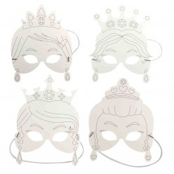 masques princesses carton blanc 17 x 35 cm x 4 pieces