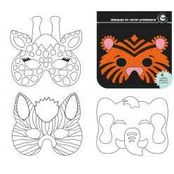 masques carton predessine animaux jungle 17x14 cm 12 pieces