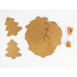 tags craft sapin 8x7 cm x 20 et ficelle 3 m