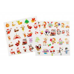 stickers transparents noel couleurs assorties 15 a 45cm x 48 pcs