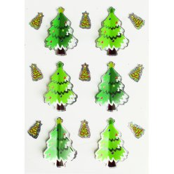 stickers 3d holographique sapin 4cm x 6 pcs