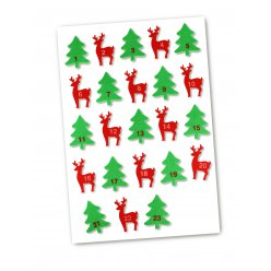stickers cerf sapin numerotes feutrine rouge vert 55 a 6cm x 24pcs