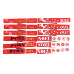 pinces a linge message de noel rouge blanc 45cm x 12 pcs