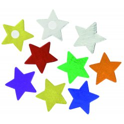 stickers etoiles bois multicolore 5 cm x 9 pcs