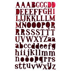 stickers alphabet textile rouge 2 cm x 88 pcs